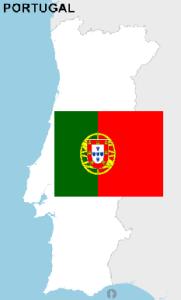 Kaart en vlag Portugal